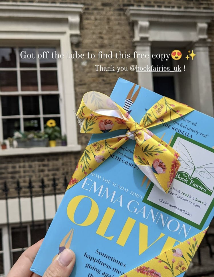 Olive by Emma Gannon hidden by UK book fairies book found in London