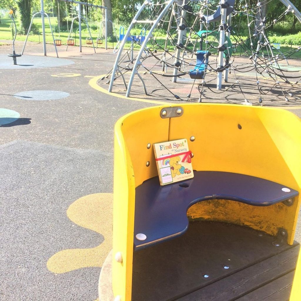 Book fairies hide Find Spot At Nursery at amazing places around the UK - in a playground