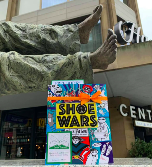 The Book Fairies share copies of Shoe Wars around the UK north england