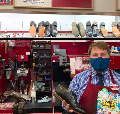 The Book Fairies share copies of Shoe Wars around the UK - at a cobbler
