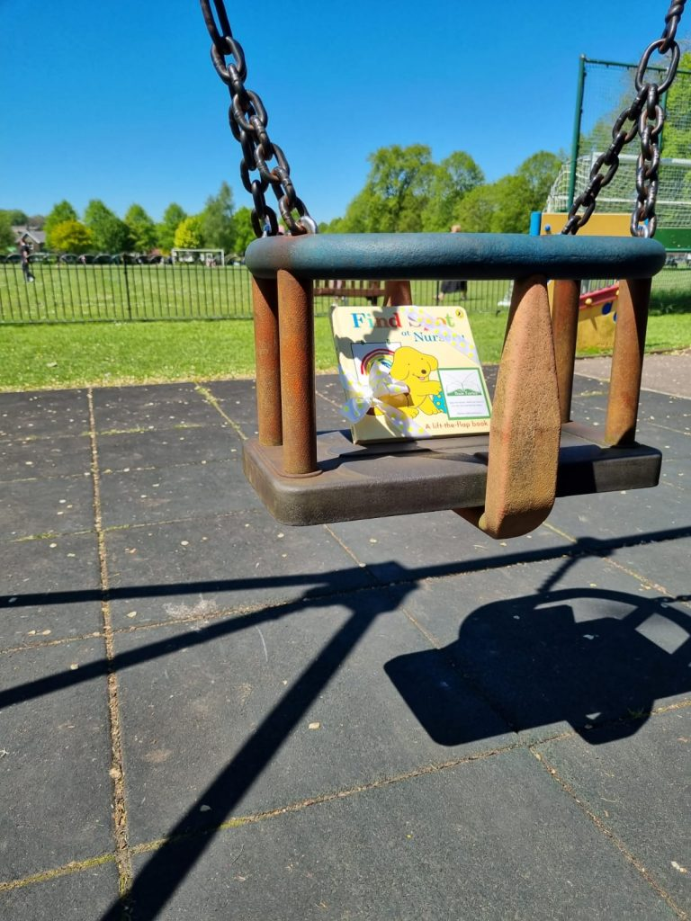 Book fairies hide Find Spot At Nursery at amazing places around the UK - on a swing