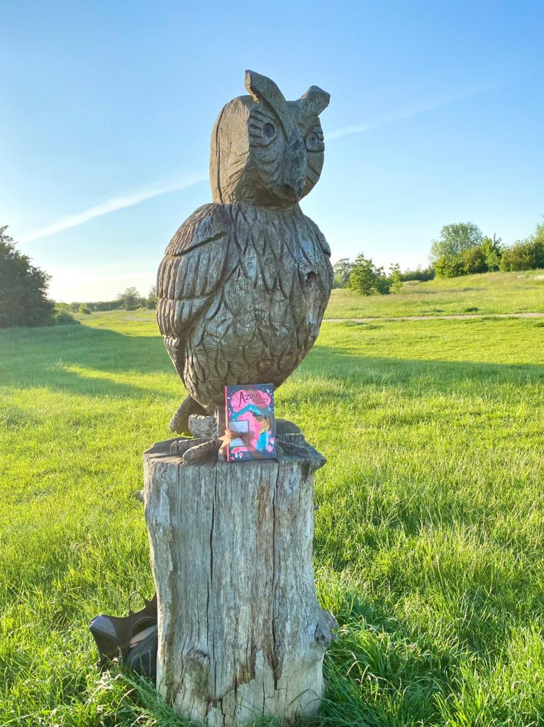 Aziza and the Fairy Door hidden by Book Fairies on a sculpture