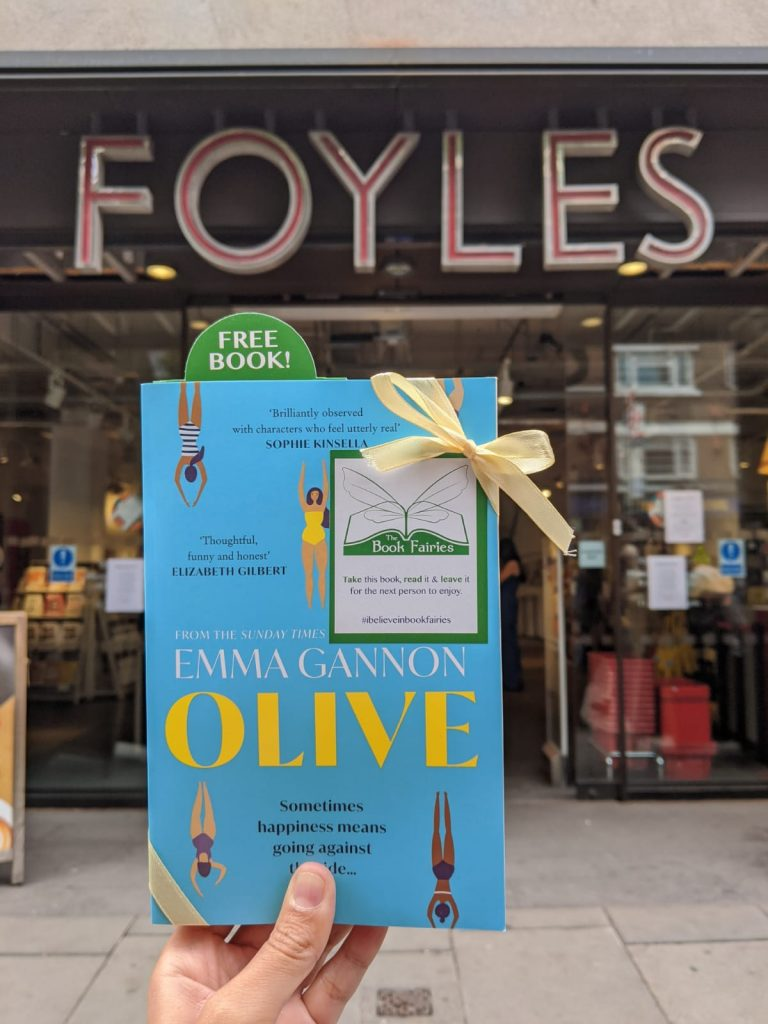 Olive by Emma Gannon hidden by UK book fairies at Foyles Charing Cross Road
