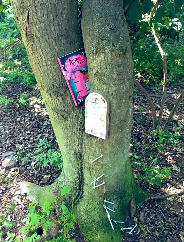 Aziza and the Fairy Door hidden by Book Fairies in a tree