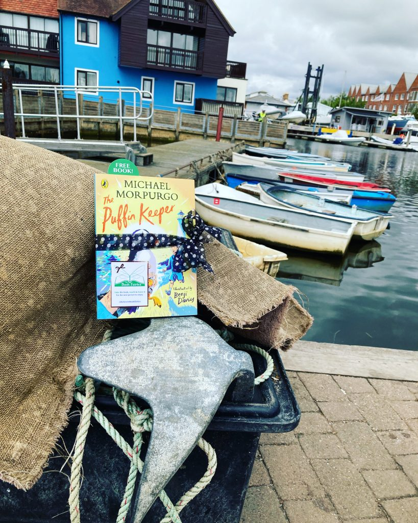The Puffin Keeper by Michael Morpurgo is hidden by The Book Fairies in a harbour
