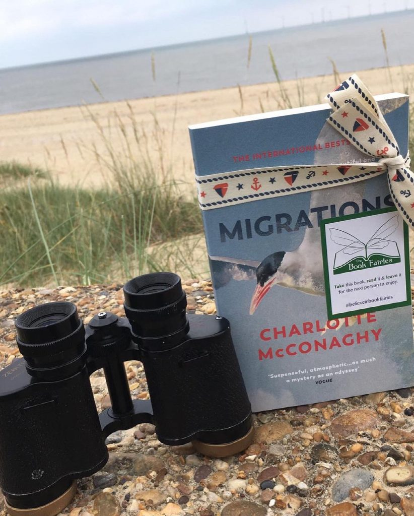 Book Fairies share copies of Migrations by Charlotte McConaghy published by Vintage Books at the seaside