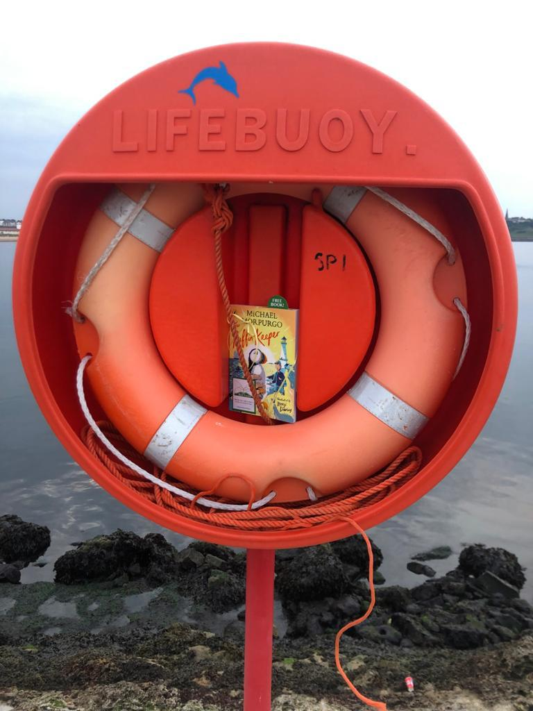 The Puffin Keeper by Michael Morpurgo is hidden by The Book Fairies in a lifebuoy