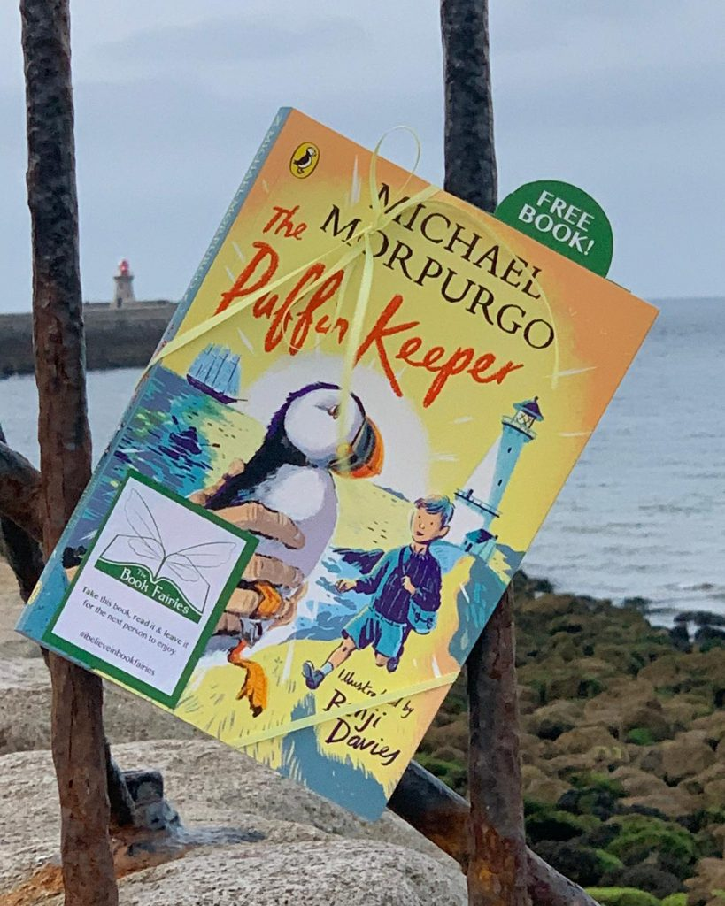The Puffin Keeper by Michael Morpurgo is hidden by The Book Fairies at the sea