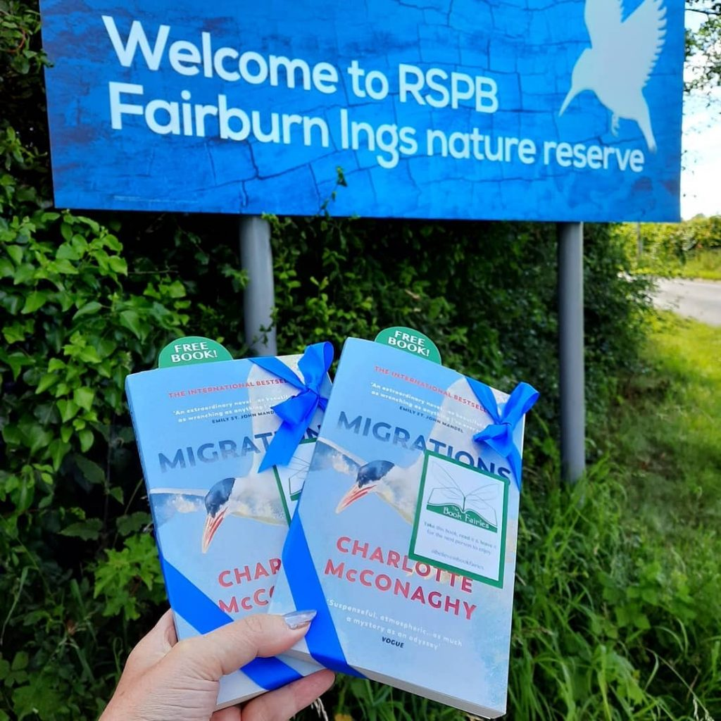 Book Fairies share copies of Migrations by Charlotte McConaghy published by Vintage Books at RSPB reserve