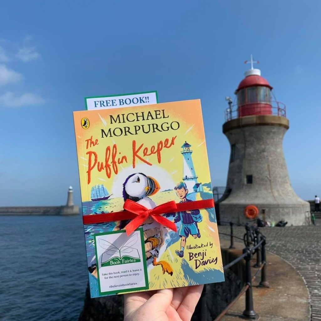 The Puffin Keeper by Michael Morpurgo is hidden by The Book Fairies near a lighthouse