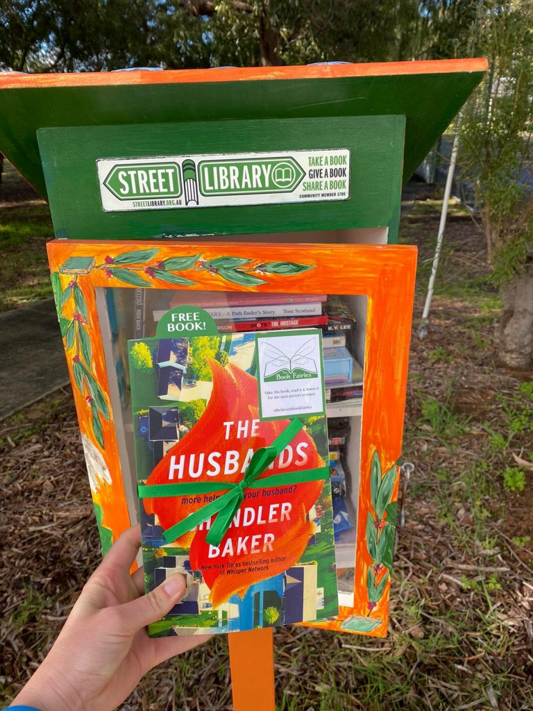 Book Fairies in Australia shared copies of The Husbands by Chandler Baker - at a street library