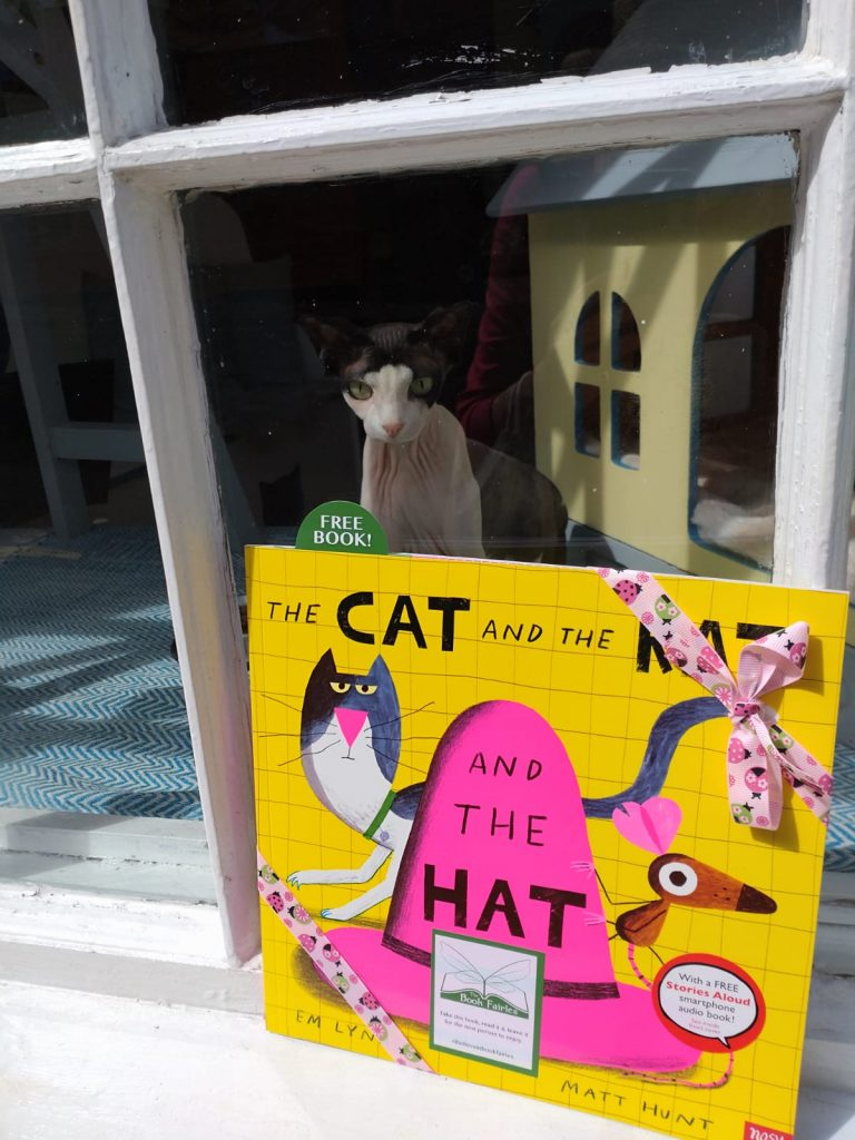 The Cat The Rat And The Hat hidden by book fairies at a cat cafe in Edinburgh