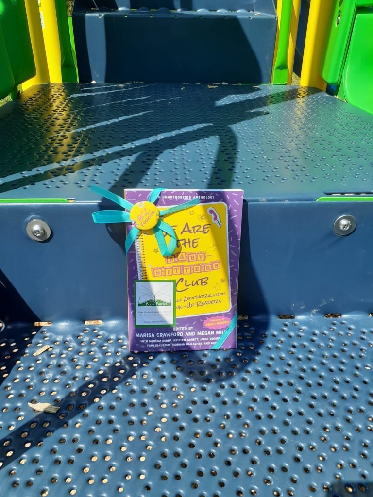 Book Fairies in the US share copies of We Are The Babysitter's Club in a playground
