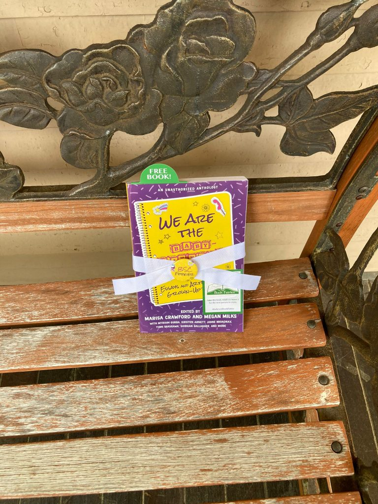 Book Fairies in the US share copies of We Are The Babysitter's Club on a bench