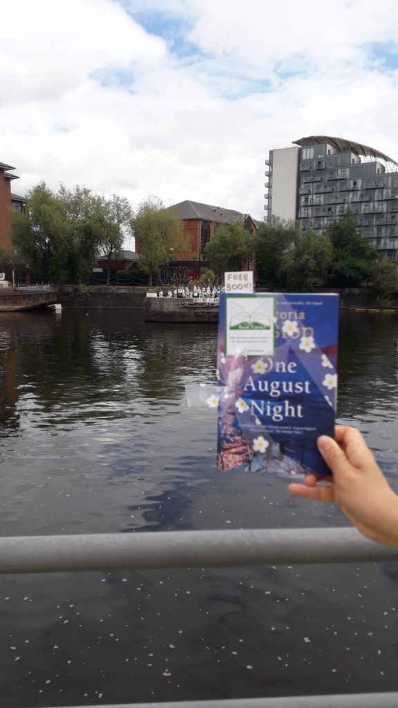 Book Fairies leave copies of One August Night by Victoria Hislop in Salford Quays