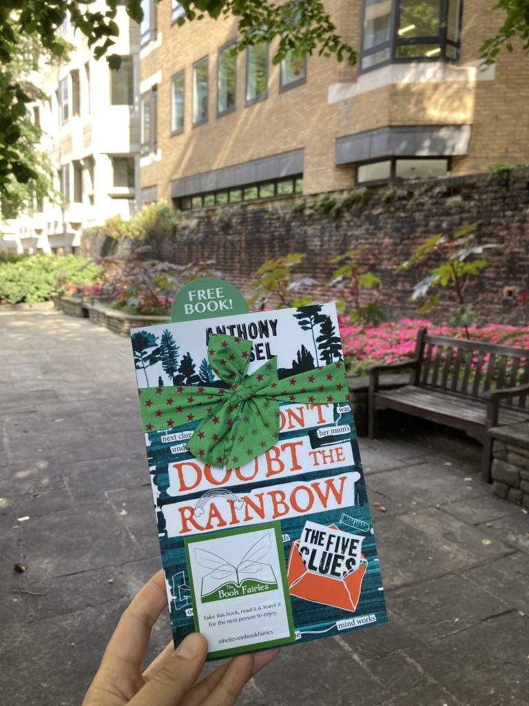 The Five Clues by Anthony Kessel hidden by book fairies at Liverpool Street