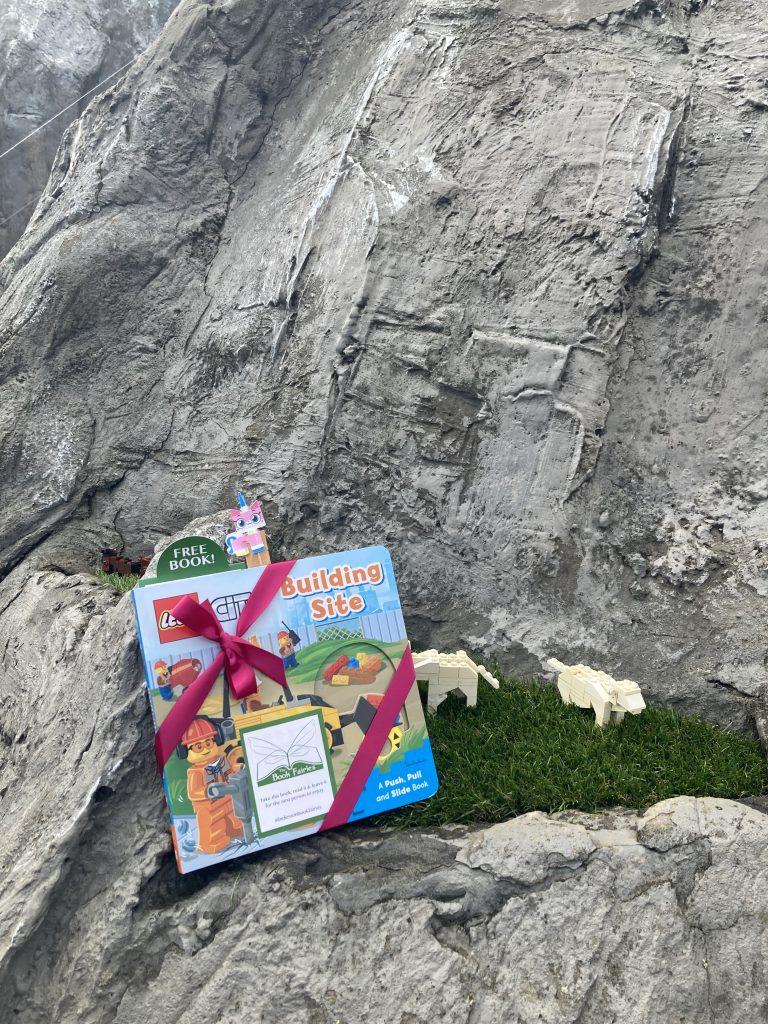 LEGOCity books hidden by book fairies at LEGO locations - miniature Switzerland
