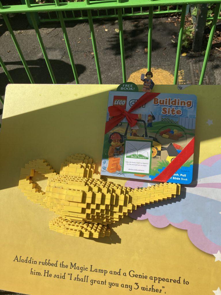 LEGOCity books hidden by book fairies at LEGO locations - Aladdin