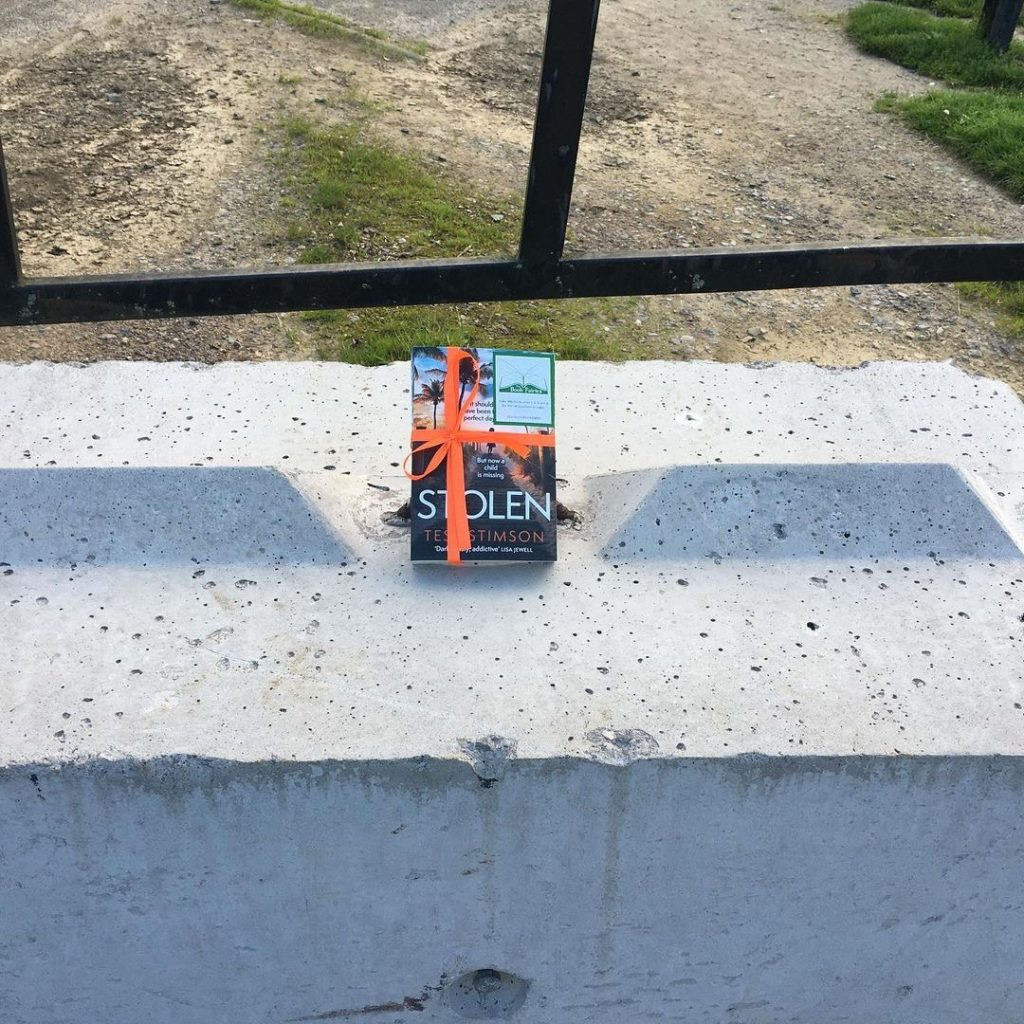 Book Fairies share copies of Stolen by Tess Stimson at a playground