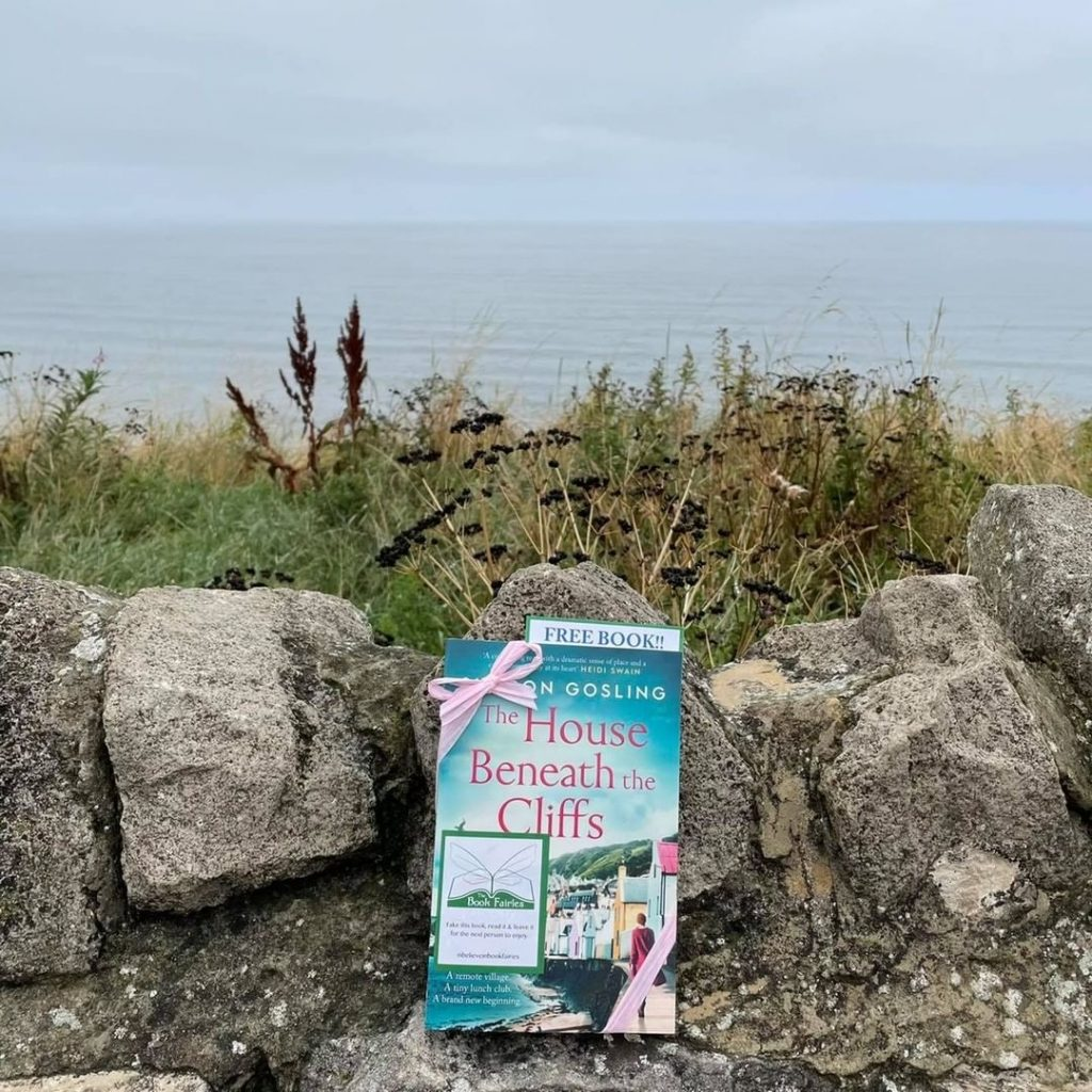 Book fairies leave copies of The House Beneath the Cliffs by Sharon Gosling at the cliff edge