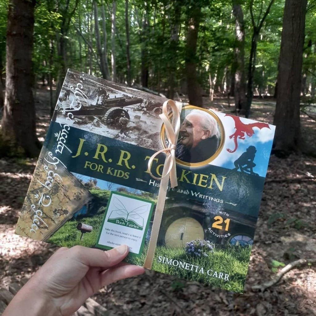 The Book Fairies share copies of J. R. R. Tolkien For Kids in a wood