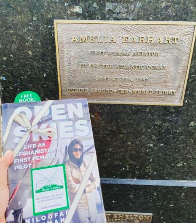 Open Skies by Niloofar Rahmani is hidden by book fairies at Amelia Earhart statue