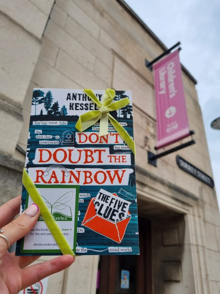 The Five Clues by Anthony Kessel hidden by book fairies at a library