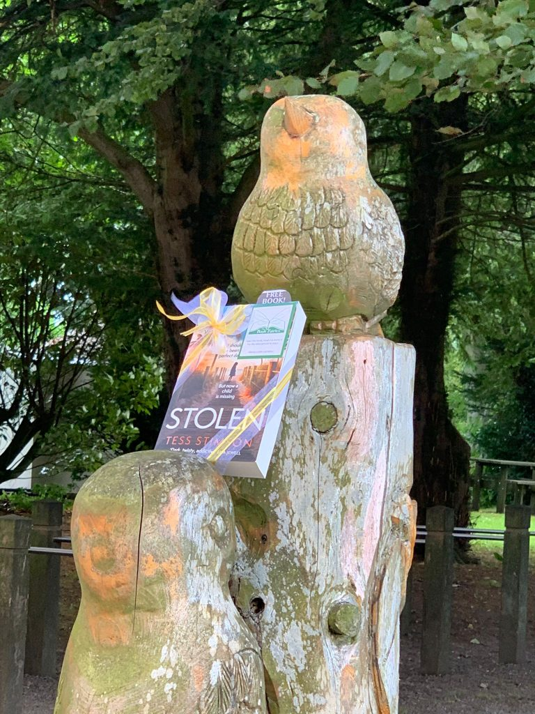 Book Fairies share copies of Stolen by Tess Stimson on a sculpture