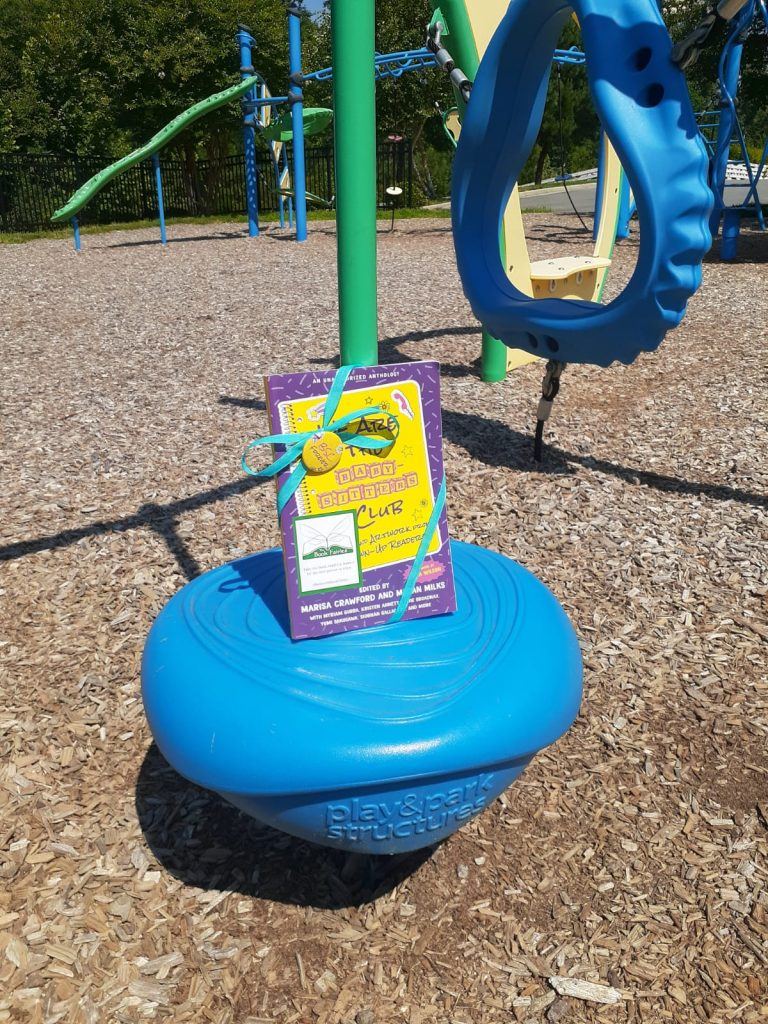 Book Fairies in the US share copies of We Are The Babysitter's Club at a play park
