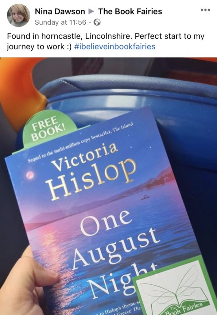 Book Fairies leave copies of One August Night by Victoria Hislop book found