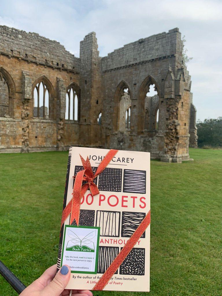 Book Fairies hide 100 Poets by John Carey - at a ruin