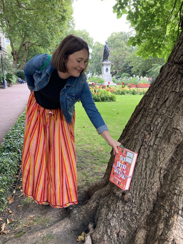 Author Freya Sampson becomes Book Fairy for a Day with The Last Library in a tree