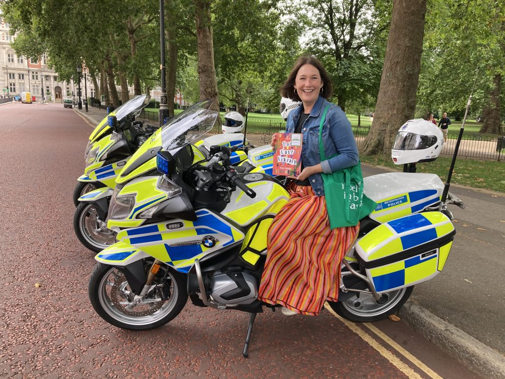 Author Freya Sampson becomes Book Fairy for a Day with The Last Library on a Police bike