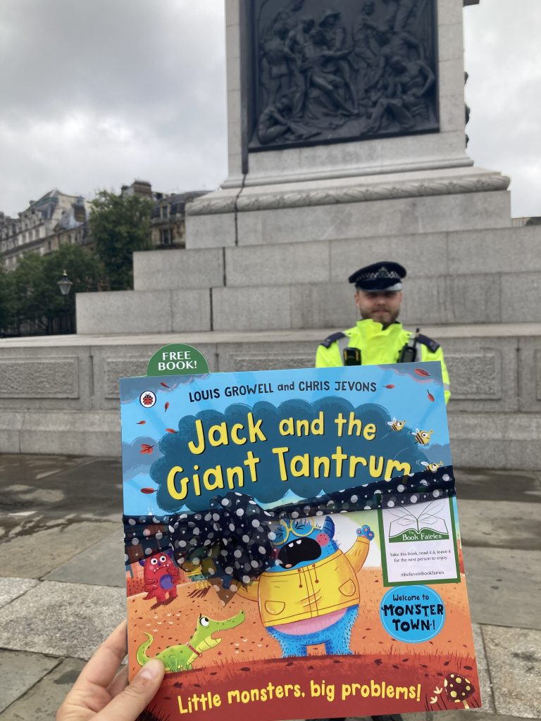 Jack and the Giant Tantrum hidden by The Book Fairies at Trafalgar Square