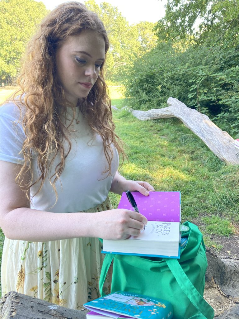 Anna James becomes Book Fairy for a Day with new book Pages and Co: The Book Smugglers - signing books