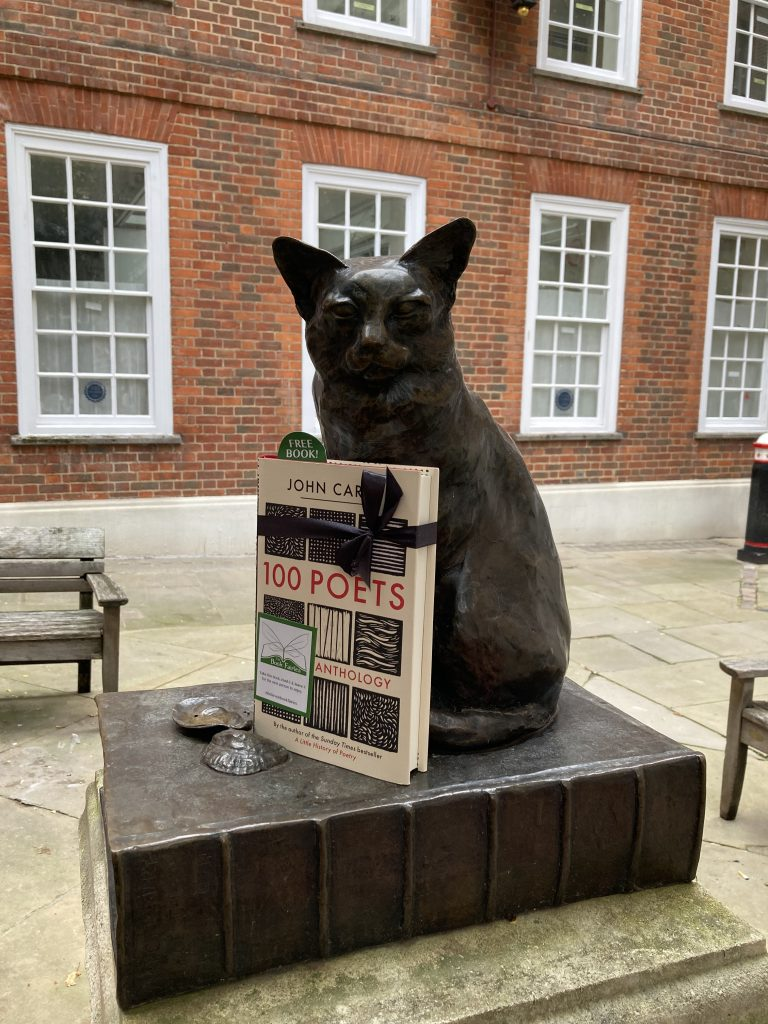 Book Fairies hide 100 Poets by John Carey at Hodge statue by Samuel Johnson's house