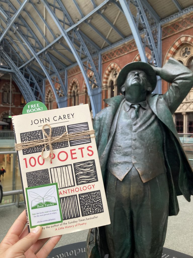 Book Fairies hide 100 Poets by John Carey - at Betjemen statue