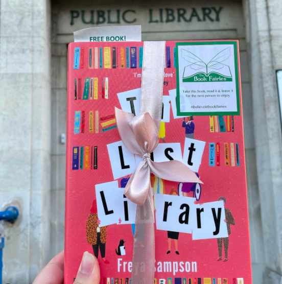 Book Fairies hide copies of The Last Library by Freya Sampson at a public library