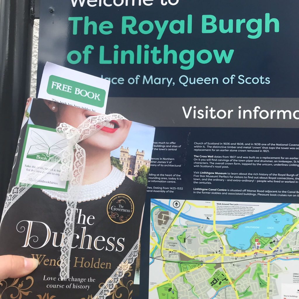 The Duchess by Wendy Holden is hidden by book fairies - Linlithgow