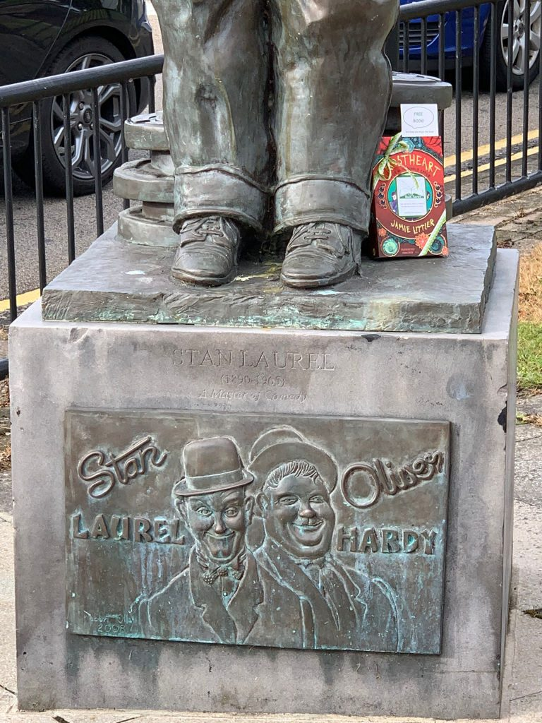 Frostheart 3 left at great locations by book fairies at a statue