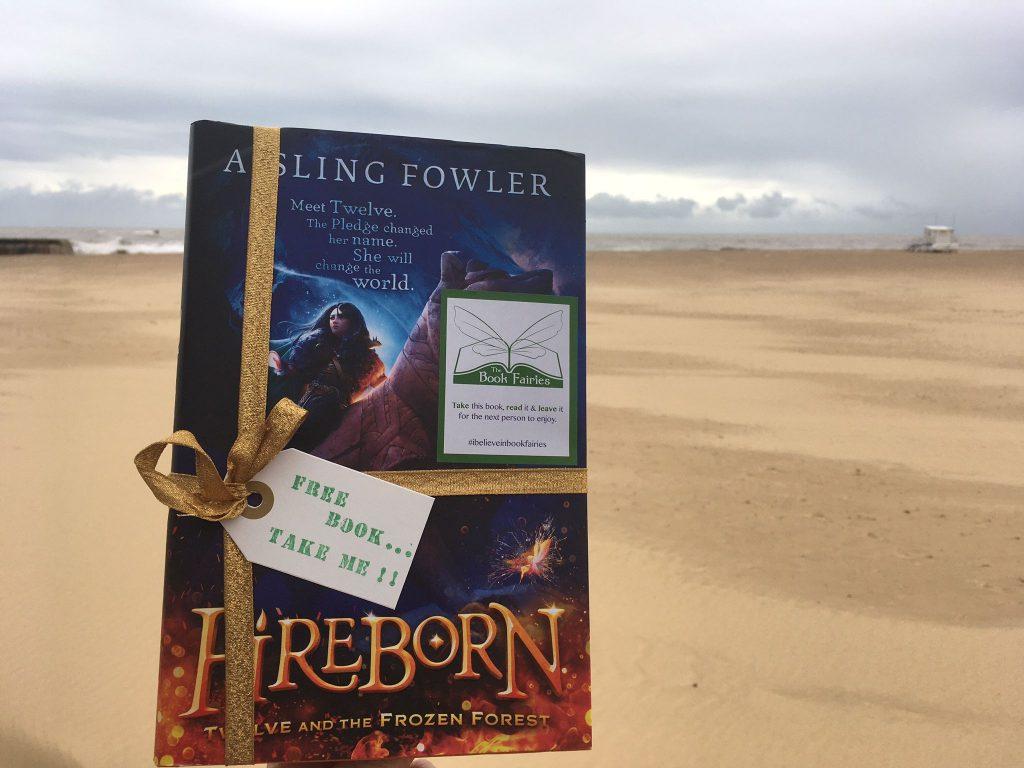 Fireborn by Aisling Fowler hidden by book fairies on a Norfolk Beach