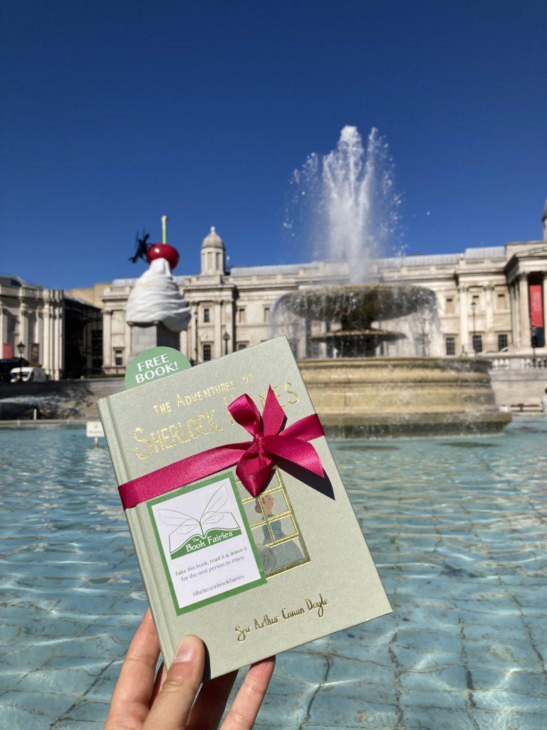 Sherlock Holmes from Wordsworth hidden by book fairies - Trafalgar Square