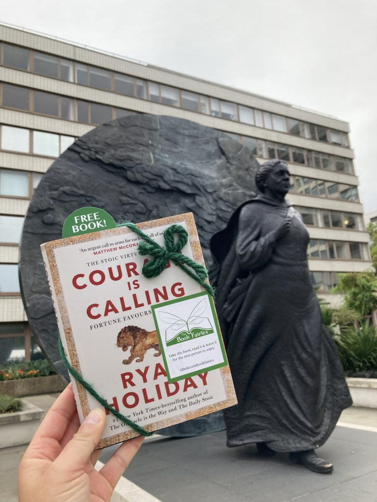 Courage is Calling by Ryan Holiday hidden by The Book Fairies - Mary Seacole statue