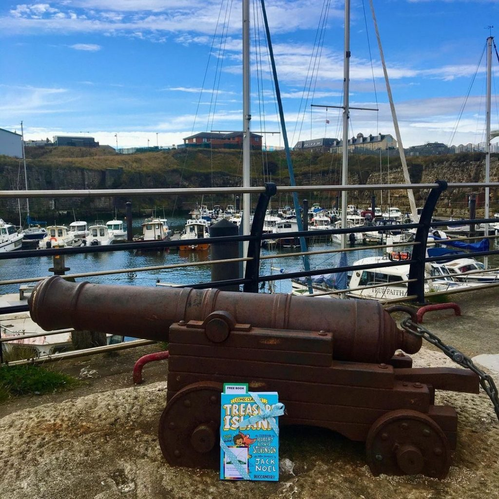 Treasure Island Comic Classics hidden by book fairies at a cannon